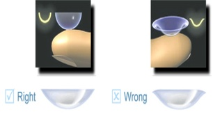 Image showing the difference between bowl shape and U shape of soft contact lenses when held on your fingertip